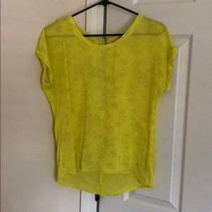 Forever21 floral bright yellow top